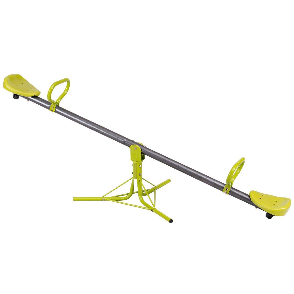 Costzon Kids Seesaw Swivel Teeter Totter Playground Equipment, 360 Degree Rotation Green