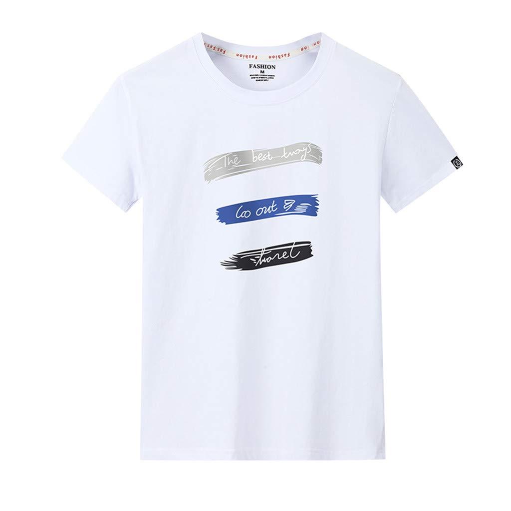 OGGI-T-shirt Casuali Maglietta da Uomo Moda Sportivo T-Shirt Estate Cool Traspiranti Manica Corta Camicia Fitness Running Palestra Polo da Uomo Classico Bianco Nero T-Shirt Semplice Stampate Tee