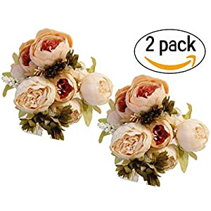 Maggift Artificial Peony Silk Flowers Bouquet Home Wedding Decoration (Light pink) 46