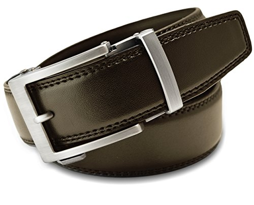 Belt Matte - Classic Men's Leather Ratchet Click Belt - Matte Silver Buckle w/ Double Stitched Brown Leather Ratchet Belt (Trim to Fit: Up to 35'' Waist)