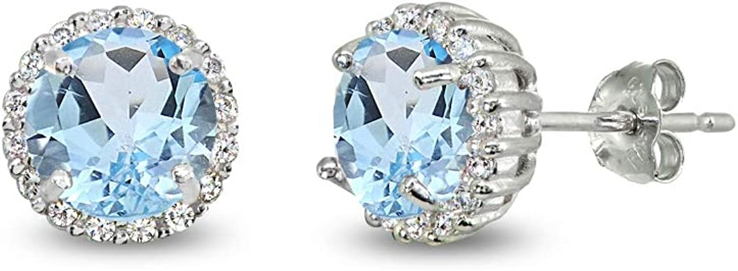 September Birthstone 925 Sterling Silver Brilliant Round Cut Sapphire /& White Topaz Stud Halo Earrings 6mm