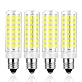 Yuiip E11 LED Light Bulb Dimmable 6W 40W 50W 60W Halogen Bulbs Replacement JD T4 e11 Mini Candelabra Base Daylight White 6000K 88 x 2835SMD Lamps 110V 120V for Chandeliers Ceiling Fan Light, Pack of 4
