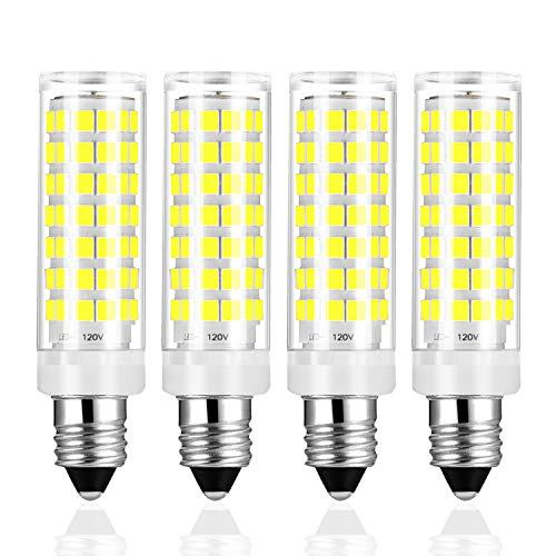 Yuiip E11 LED Light Bulb Dimmable 6W 40W 50W 60W Halogen Bulbs Replacement JD T4 e11 Mini Candelabra Base Daylight White 6000K 88 x 2835SMD Lamps 110V 120V for Chandeliers Ceiling Fan Light, Pack of 4 ()