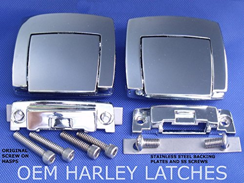 [Chrome Tour Pack Pak Latches For Harley Touring Classic Electra Road Glide 80-13] (Deluxe Smoke Mask)