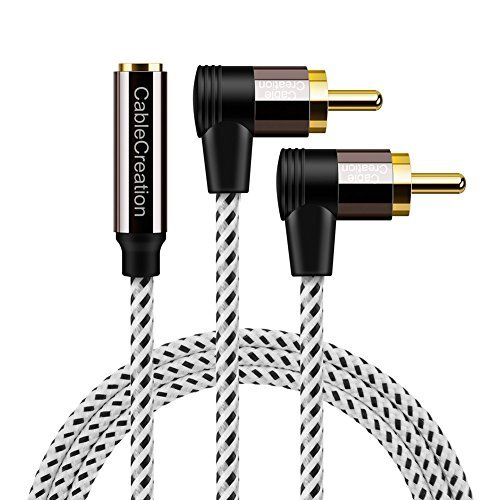 RCA to 3.5mm Female,6ft 3.5mm Jack to 2RCA 90 Degree Male Stereo Audio Cable Gold Plated for TV, MP3, Tablets, Speakers,Home Theater,HDTV,Chromecast,Black and White/2m