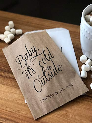 - Hot Cocoa Favor Bags, Hot Chocolate Bridal Shower Favors, Baby its Cold Outside, winter weddings, holiday weddings