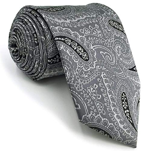 (Shlax&Wing Business Paisley Mens Necktie Grey Ties Skinny Extra Long)