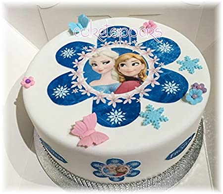 Edible Blue Frozen Flower Anna Elsa Uncut Icing Cake Topper Cupcake Toppers