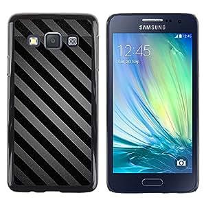 MOBMART Carcasa Funda Case Cover Armor Shell PARA Samsung Galaxy A3 - Black And Grey Stripes