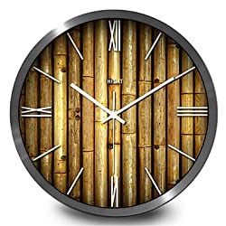 Creative Garden Bamboo Living Room Wall Clock Home Furnishing Creative Quartz Wall Clock,30cm,Black