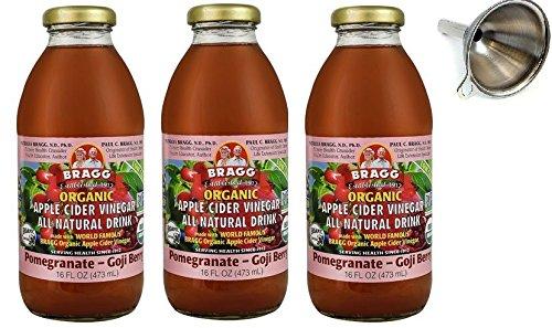 Bragg Organic Apple Cider Vinegar All Natural Drink Pomegranate Goji Berry -- 16 fl oz - Pack of 3 with Funnel