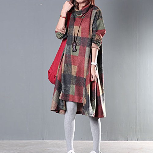 Robe B Taille Top Landove Hiver Sweat Unie Grande Automne Robe Sweatshirt Femme Tunique Manche Longue Jumper Pull Oversize Vert Benitier Col Casual Long B6R6dw