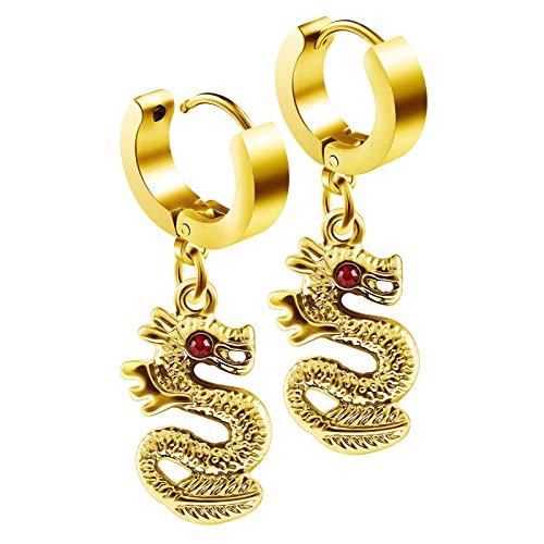 (BIG GAUGES Pair of PVD Anodized 16g Gauge 1.2mm Huggies Dangling Plugs Piercing Ear Hoop Cartilage Dragon Crystal Eye Earring BG2386)