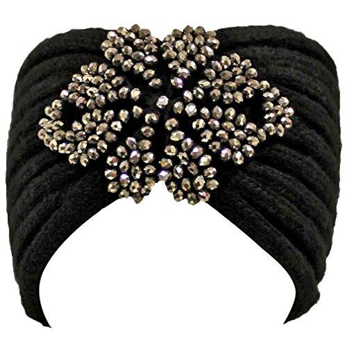 Luxury Divas Black Knit Headband With Beaded Detail