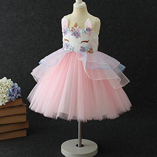 071d59e430ec0 Little Big Girls Flower Tulle Birthday Unicorn Costume Cosplay Princess  Wedding Pageant Tutu Dress up Formal