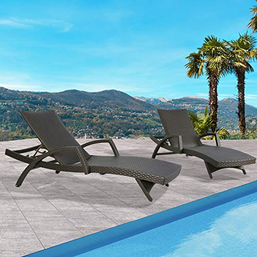 Ulax Furniture Outdoor Woven Padded 2-Pack Aluminum Chaise Lounge Armed Patio Lounger Adjustable Chair with Wheels and Quick Dry Foam (Cushions Foam Dry Patio Quick)