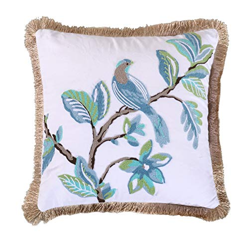 Levtex Home Cressida Crewel Bird Fringe Trim Pillow, Animal, Invisible Zipper, 100% Cotton, Teal ()