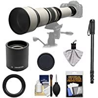Rokinon 650-1300mm f/8-16 Telephoto Zoom Lens with 2x Teleconverter (=650-2600mm) + Monopod Kit for Nikon D3100, D3200, D5000, D5100, D7000, D700, D800, D4 Digital SLR Cameras