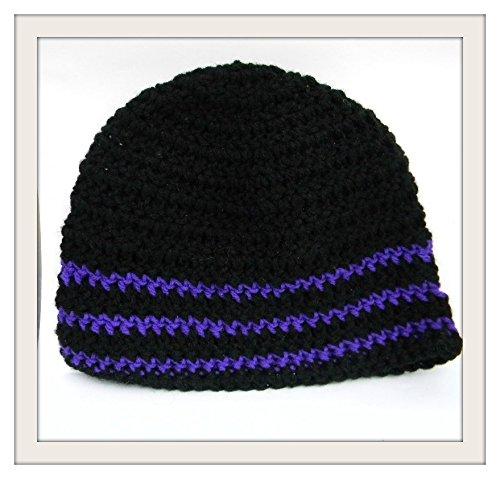Amazoncom Crochet Skull Cap Black With Purple Trim Beanie Boho