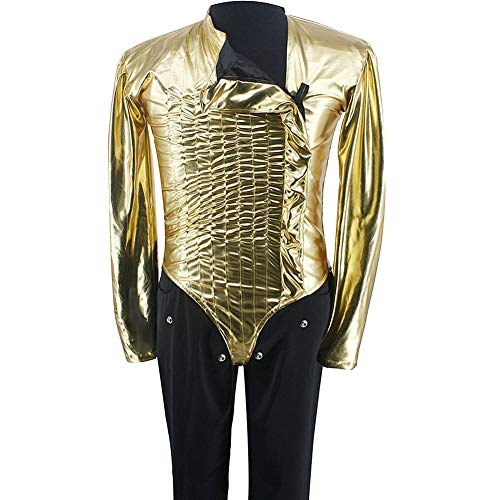 Michael Jackson Costume MJ Classic Bad Dangerous Jam Golden Bodysuit Jacket Pants for Performance Collection 1990S (28, Pants Only) -