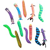 US Toy Assorted Color Neon Caterpillar Toy Animal Figures (Lot of 12)