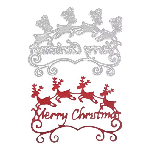 Cutting Dies,Hstore Merry Christmas Paper Card Making Metal Die Cut Stencil Template for DIY Scrapbook Photo Album Embossing Craft Decoration (C)