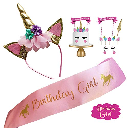 Unicorn Headband Birthday Girl Sash Cake decor Set for Party Supplies]()
