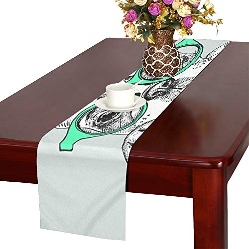 (WHIOFE Card Template Portrait French Bulldog Glasses Table Runner, Kitchen Dining Table Runner 16 X 72 Inch for Dinner Parties, Events,)