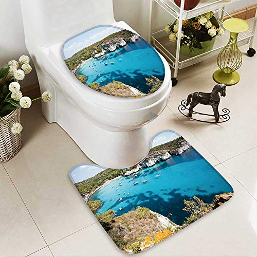 aolankaili Large Contour Mat Cala Macarella Cala Macarelleta Menorca Balearic islands Spain Non-Slip Microfiber Bathroom mat with Anti Skid by aolankaili