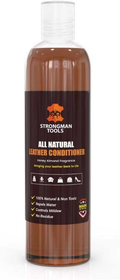 Strongman Tools USA| 100% All Natural 2in1 Leather Conditioner and Cleaner |Restore and Repair Furniture, Cars, Apparel, Shoes, Bags and Accessories | Non Toxic Made in The USA (8 Oz Bottle)