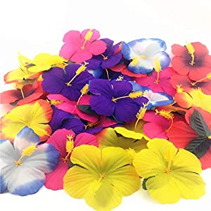 72 Pack Sc0nni Hibiscus Flowers for Tabletop Decoration Party Favor Party Decoration Confetti Party Favors 17