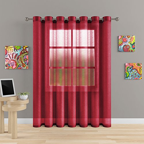 """Grommet Semi Sheer Luxury 1 Double Wide Curtain Panel Window Home Decor and Upscale Design Light Penetrating Provide Privacy Soft Durable Polyester Easy Maintenance (Panoramic 104""""x84"""" Merlot) (Sale Curtains On Patio)"""