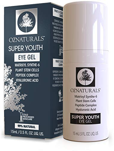 OZNaturals Anti Aging Eye Gel: Super Youth Eye Gel for Men and Women  Under Eye Treatment for Bags Wrinkles Crows Feet Dark Circles and Puffiness  Day and Night Anti Wrinkle Eye Gel  05 Fl Oz