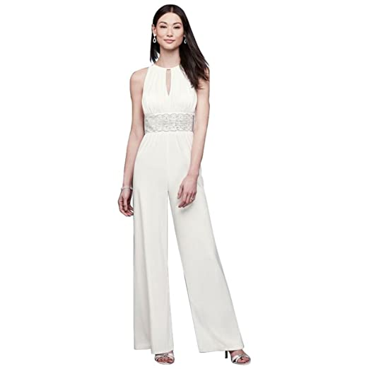 Beaded Jersey Halter Wedding Jumpsuit With Keyhole Style 3650 Ivory