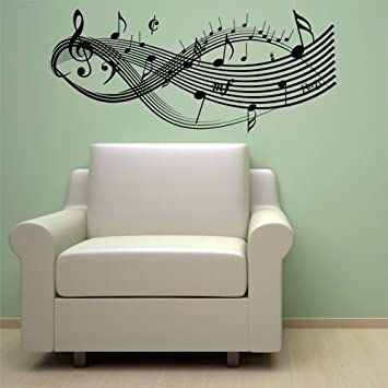 Lovely Clef Music Notes Wall Decal Sticker Art Studio Decor Black Part 17
