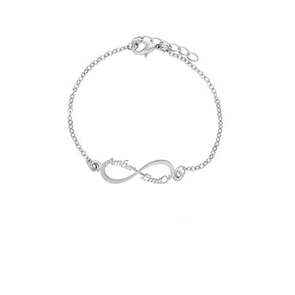 MANZHEN Infinity Symbol Bangle Name Custom Personalized Open Bangle Bracelets Gift for Women Men (Silver 2)