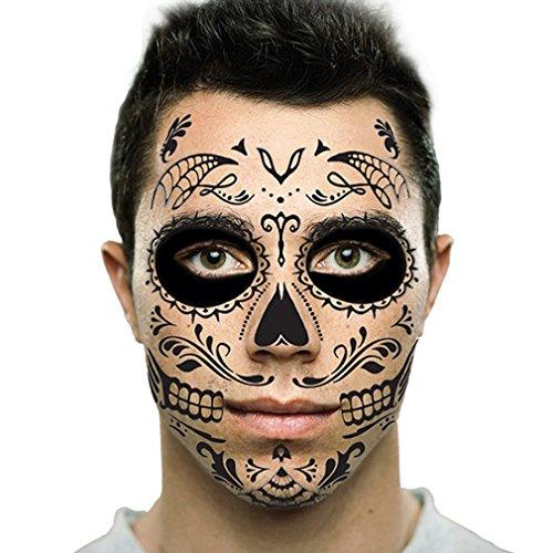 Sugar Skull Temporary Face Tattoo - Black Skull - Day of the Dead - Calavera - Halloween (Calaveras Costume)