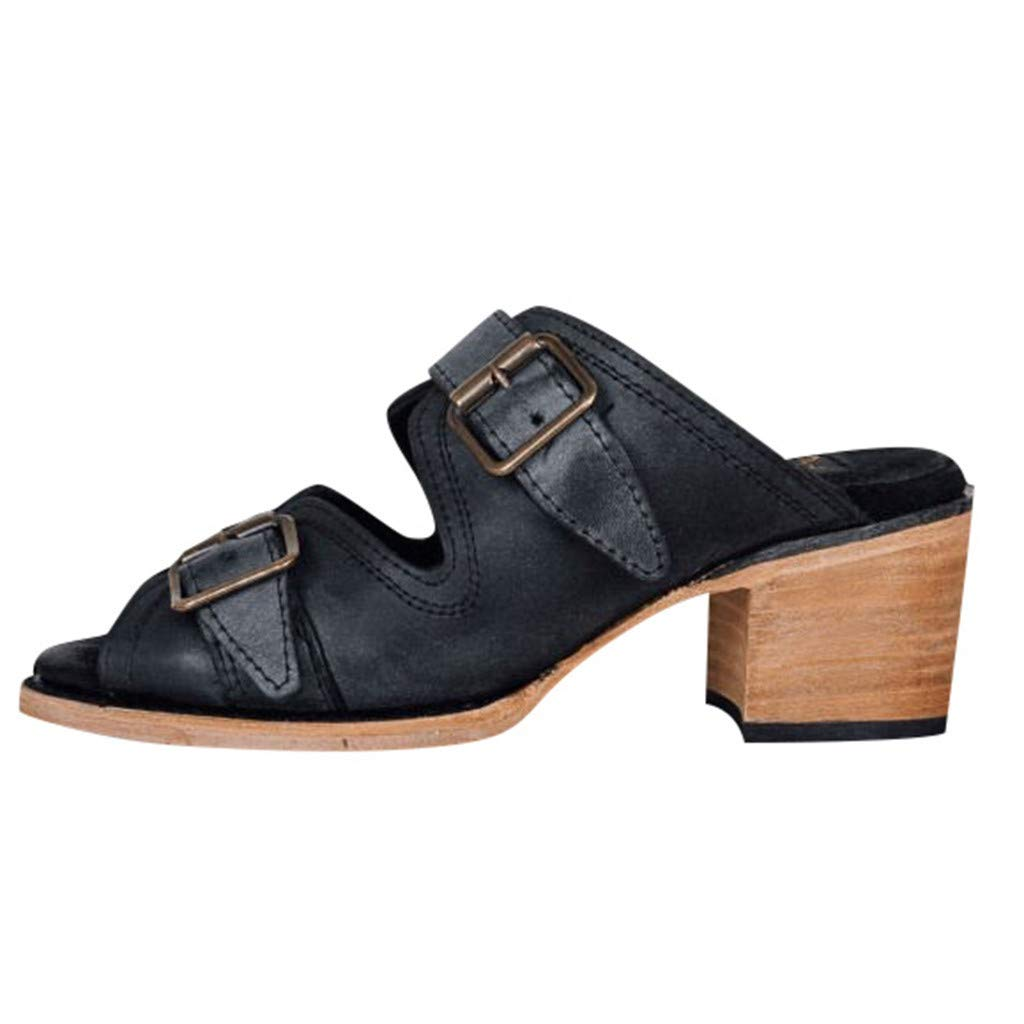 YKARITIANNA Women's Pointed Shoes Fashion Square High Heel Slippers Retro Belt Buckle Sandal Black