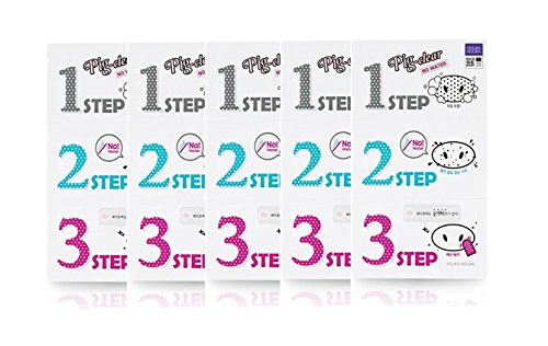 Holika Holika Pig Clear Black Head 3 Step Kit No Water Nose Strip (2017 New) (5 Sheets) by Holika Holika