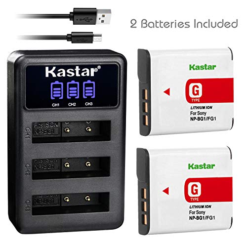 Kastar 2 Pack Battery and LCD Triple Charger Compatible with Sony NP-BG1 NP-FG1 BC-CSG Sony Cyber-shot DSC-W170 DSC-W200 DSC-W210 DSC-W215 DSC-W220 DSC-W230 DSC-W270 DSC-W275 DSC-W290 DSC-W300 DSC-W30