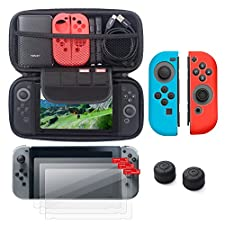 Insten Nintendo Switch Starter Kit - Including Travel Carrying Case, Joy Con (L/R) Cover[Blue/Red], Thumb Grip Stick Caps[Black Style 2] & [3-Pack] Screen Protector For Nintendo Switch