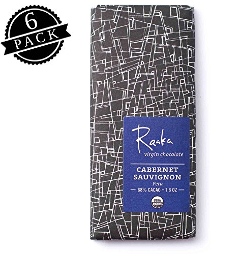Raaka Chocolate Cabernet Sauvignon Dark Chocolate 66% Cacao (1.8oz Bar - 6 Pack), Organic, Non-GMO, Kosher Premium Craft Chocolate, Vegan, Gluten and Soy Free, Bittersweet, Bean-to-Bar Dark (Cabernet Sauvignon Chocolate Wine)