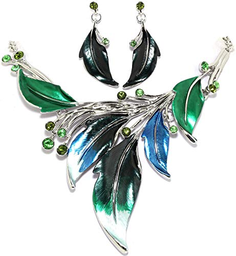 (AnsonsImages Green Leaf Leaves Rhinestones Silver Tone 20