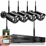 8-Channel HD 1080P Wireless Network/IP, Security Camera System,(IP Wireless WiFi NVR Kits),4Pcs 960P 1.3 Megapixel Wireless Indoor/Outdoor, IR Bullet IP Cameras P2P App No HDD