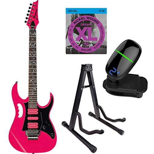 (Ibanez JEMJR Steve Vai Signature Series Electric Guitar with Strings, Front Row Tuner & Stand (Pink))