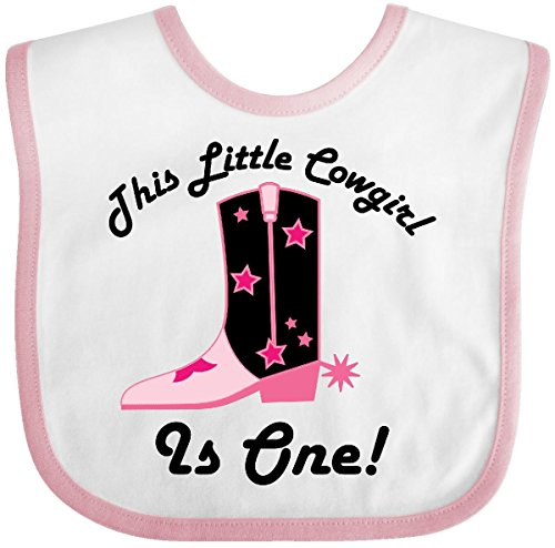Inktastic - 1st Birthday Cowgirl is One Baby Bib White/Pink (Cowgirls Outfits Ideas)