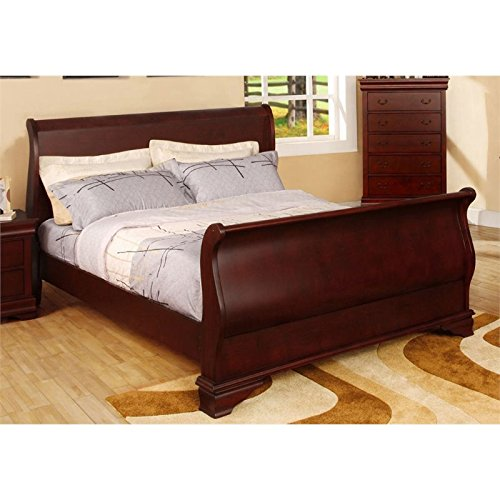 Furniture of America Gorgen Queen Faux Leather Sleigh Bed in Brown ()