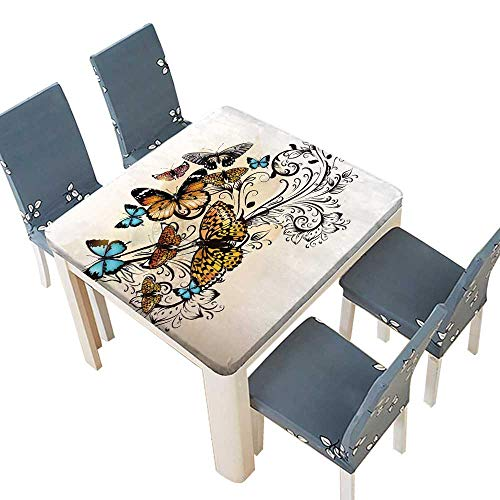 - PINAFORE Polyester Tablecloth Butterfly Monarch Butterflies Vintage DamaskOmbre Floral Cream Orange Blue Hotel Linen Cotton Tablecloths Kitchen Room 57 x 57 INCH (Elastic Edge)