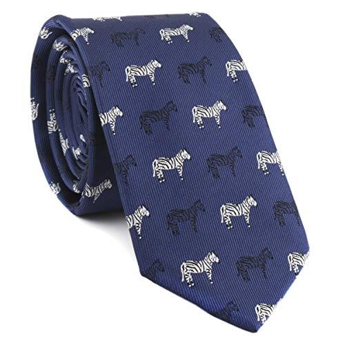 (Novelty Ties for Men Navy Blue Silk Self Cravat Tie Black and White Zebra Design Attire Novelty Necktie )