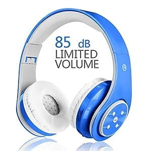 Kids Wireless Headphones,Votones Volume Limiting Adjustable Bluetooth Headphones for Children,Lightweight Fold-able Over Ear Earphone with Microphone(Blue)